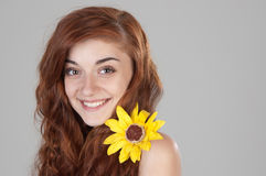 Portrait of a smiling red haired girl Royalty Free Stock Photography