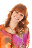 Portrait smiling red haired girl Stock Photo