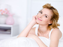 Portrait of smiling relaxing woman Royalty Free Stock Photo