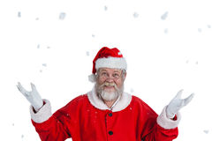 Portrait of smiling santa claus gesturing Royalty Free Stock Images