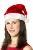 Portrait Smiling Santa Woman Stock Photo