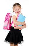 Portrait of smiling schoolgirl with backpack Royalty Free Stock Photography