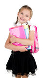 Portrait of smiling schoolgirl with backpack Royalty Free Stock Images