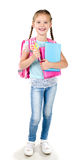 Portrait of smiling schoolgirl with backpack Royalty Free Stock Image