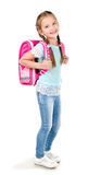 Portrait of smiling schoolgirl with backpack Stock Photo