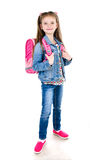 Portrait of smiling schoolgirl with backpack isolated Stock Photos