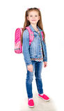 Portrait of smiling schoolgirl with backpack isolated Royalty Free Stock Images