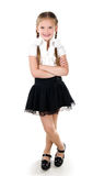 Portrait of smiling schoolgirl isolated Stock Photography