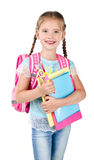 Portrait of smiling schoolgirl with school bag Stock Photos