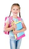 Portrait of smiling schoolgirl with school bag Stock Photos