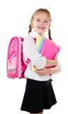Portrait of smiling schoolgirl with school bag Stock Photography