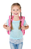 Portrait of smiling schoolgirl with school bag Royalty Free Stock Image