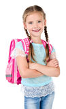 Portrait of smiling schoolgirl with school bag Stock Image
