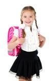 Portrait of smiling schoolgirl with school bag Royalty Free Stock Photo