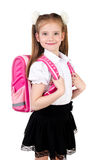 Portrait of smiling schoolgirl in uniform with backpack isolated Stock Image