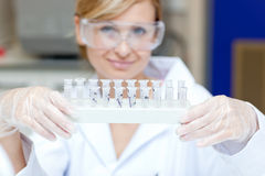 Portrait of a smiling scientist holding samples royalty free stock photo