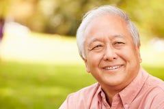 Portrait Of Smiling Senior Asian Man Sitting In Park Stock Photos