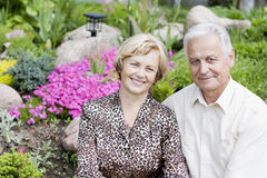 Portrait of a smiling senior couple. Happy seniors in a blossoming garden stock image