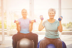 Portrait of smiling senior couple holding dumbbells. While sitting on exercise ball at home Royalty Free Stock Photos