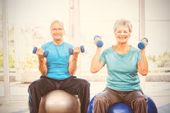 Portrait of smiling senior couple holding dumbbells. While sitting on exercise ball at home Royalty Free Stock Photo