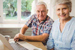 Portrait of smiling senior couple using laptop Royalty Free Stock Images