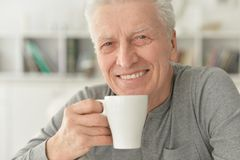 Senior man drinking tea. Portrait of smiling senior man drinking tea at home Royalty Free Stock Image