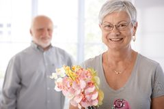 Portrait of smiling senior woman stock photos
