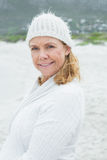 Portrait of a smiling senior woman at beach Stock Photo