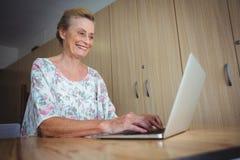 Portrait of smiling senior woman using a laptop Stock Images