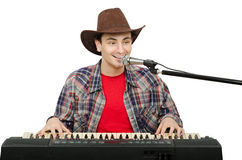 Portrait of smiling singer western songs Royalty Free Stock Images