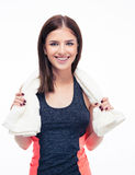 Portrait of a smiling sports woman with towel Stock Image