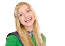 Portrait of smiling student girl with backpack Royalty Free Stock Photography
