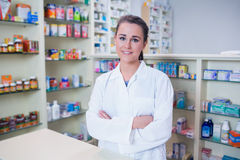Portrait of a smiling student in lab coat looking at camera stock image