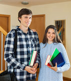 Portrait of smiling students. At home royalty free stock photo