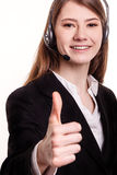 Portrait of smiling support phone operator in headset Stock Photos
