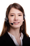 Portrait of smiling support phone operator in headset Stock Image