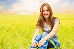 Portrait of smiling teen age girl royalty free stock photography
