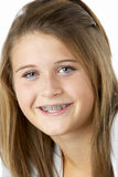 Portrait Of Smiling Teenage Girl With Braces Royalty Free Stock Photo