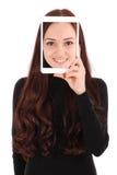 Portrait smiling teenage girl with digital tablet making selfie stock image