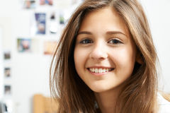 Portrait Of Smiling Teenage Girl At Home. Portrait Of Pretty Smiling Teenage Girl At Home stock photo