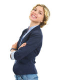 Portrait of smiling teenage girl isolated on white Royalty Free Stock Photos