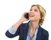 Portrait of smiling teenage girl talking mobile Royalty Free Stock Photography