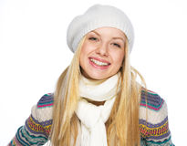 Portrait of smiling teenager girl in winter clothes Stock Photos