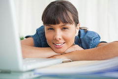 Portrait of a smiling  tired student Royalty Free Stock Photo