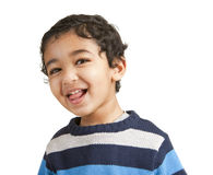 Portrait of a Smiling Toddler. Isolated on White stock images