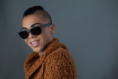 Portrait of smiling transgender woman wearing sunglasses Stock Image
