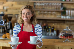 Portrait of smiling waitress offering cup of coffee Royalty Free Stock Photo