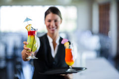 Portrait of smiling waitress serving cocktail Stock Photo