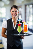 Portrait of smiling waitress serving cocktail Royalty Free Stock Photo