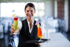 Portrait of smiling waitress serving cocktail Stock Photos